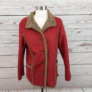LL Bean Faux Suede & Sherpa Pea Coat Red XS